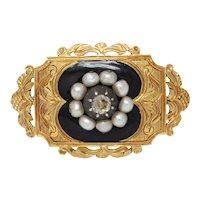 Victorian 18K Yellow Gold Black Enamel Diamond Pearl brooch