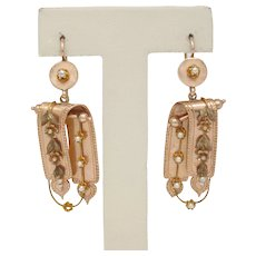 Victorian 14K Rose Gold Hanging Floral Seed Pearl Earrings