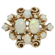 Vintage Handmade 14K Yellow Gold Opal Cluster Cocktail Ring