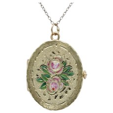 Vintage 14K Yellow Gold Floral Enamel Locket