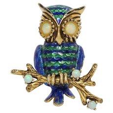 Vintage Enamel 18K Yellow Gold Opal Owl Brooch