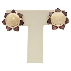 14K Yellow Gold Garnet Sun Flower Earrings