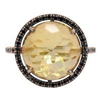 Vintage 14K Rose Gold Rose Citrine Sapphire Ring