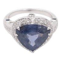 Vintage 18K White Gold Halo Setting Natural Heart Sapphire Diamond Alternative Engagement Ring