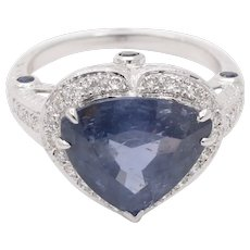 Vintage 18K White Gold Halo Setting Natural Heart Sapphire Diamond Alternative Engagement Ring