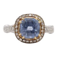 Vintage 18K White Gold Halo Setting Natural Sapphire Diamond Alternative Engagement Ring