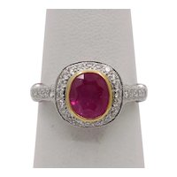 Vintage 18K White Gold Halo Setting Natural Ruby Diamond Alternative Engagement Ring