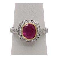 Vintage 18K White Gold Halo Setting Natural Ruby Diamond Alternative Engagement Ring