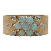 Vintage 14K Yellow Gold Wide Opal Diamond Floral Cocktail Ring