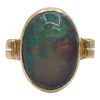 Vintage 14K Yellow Gold Black Opal Doublet Ring