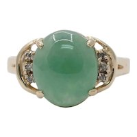 Vintage 14K Yellow Gold Natural Jade Diamond Ring