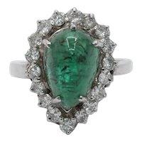14K White Gold Cabochon Emerald Diamond Engagement Ring Alternative