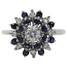 Vintage 14K White Gold Starburst Sapphire Diamond Ring