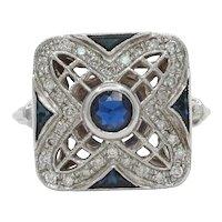 Vintage 18K White Gold Square Sapphire Diamond Alternative Engagement Ring