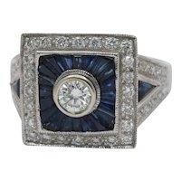 Art Deco Style 18K White Gold Diamond Sapphire Engagement Ring