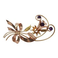 Retro 10K Rose & Yellow Gold Floral Amethyst Brooch