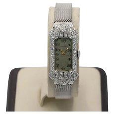 Art Deco Longines 14K White Gold Diamond Mechanical Watch