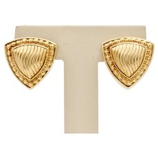 Vintage 14K Yellow Gold Triangle Earrings