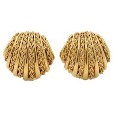 Vintage 18K Yellow Gold SeaShell Earrings