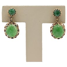 Vintage 14K Yellow Gold Aventurine Quartz Drop Earrings