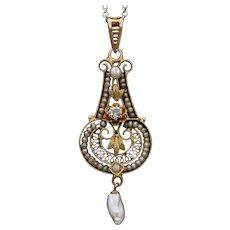 Victorian Ladies Pendant 10K Diamond Sea and Freshwater Pearls