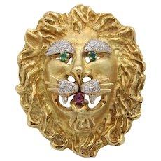 Hammerman Brothers Vintage 18K Yellow Gold Diamond Ruby Emerald Lion Brooch