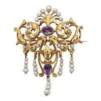 French Victorian 18K Yellow Gold Floral Amethyst Pearl Brooch