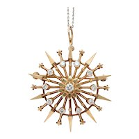 Vintage 14K Yellow Gold Diamond Star Pendant