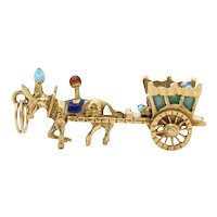 Vintage 18K Yellow Gold Enamel Horse Carriage Pendant