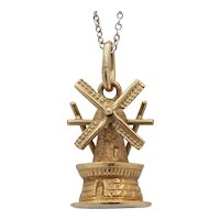 Vintage 14K Yellow Gold Windmill Pendant