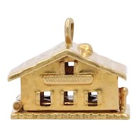 Vintage 14K Yellow Gold Opening House Pendant