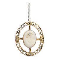 Vintage 14K Yellow Gold Cameo Pedant with Chain