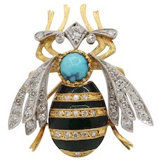 Vintage Honey Bee 18K Diamonds Turquoise Enamel Brooch Pin