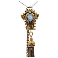 Victorian 14K Yellow Gold Enamel Clock Brooch pin