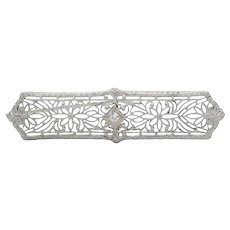 Art Deco 14K White Gold Diamond Bar Pin Brooch