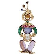 Loooook Vintage Ladies Clairvoyant Fortune Teller 14K Brooch Pin