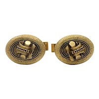 Vintage 14K Yellow Gold Black Enamel Log Cufflinks