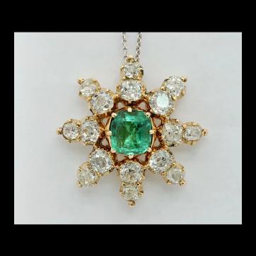 Elegant Antique Ladies Emerald Diamonds 14K Yellow Gold Pendant