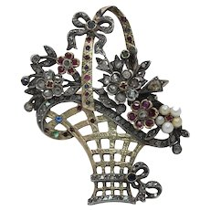 Victorian Ladies Brooch Pin Flower Basket 18K Gold Ruby Diamonds Sapphires Pearl