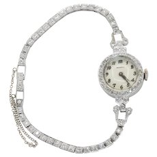Art Deco Movado Ladies Platinum Diamonds Watch