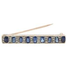 Victorian 14K Rose Gold Natural Sapphire Rose Cut Diamond Bar Pin