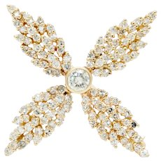 Vintage 14K Yellow Gold Four Leaf 6.50 Carat Diamond Brooch