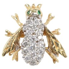 Vintage Honey Bee Pendant 18K Yellow Gold with Diamonds and Emeralds