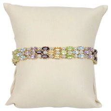 Vintage Ladies Bracelet with Natural Stones and Sterling Silver