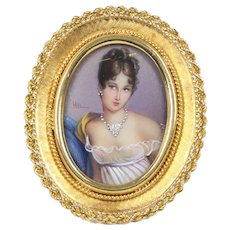 Antique Victorian Cameo Brooch Pin Pendant Diamond 18K Yellow Gold