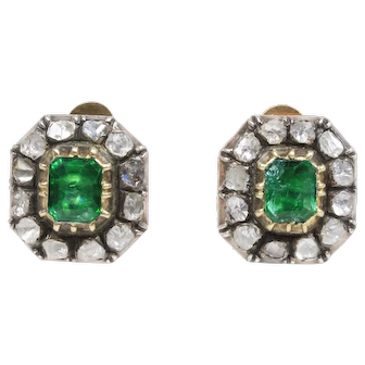 Antique Late Victorian Beryl and Rose Cut Diamond Clip Earrings