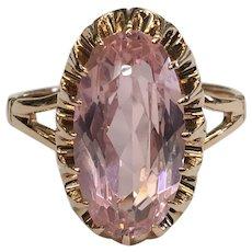 Mystical Vintage Ladies Pink Quartz 14K Rose Gold Ring