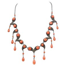Vintage-Victorian-Coral-and-Sterling-Silver-Chandelier-Style-Necklace