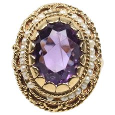 Vintage Amethyst and Seed Pearls 14K Yellow Gold Ladies Ring