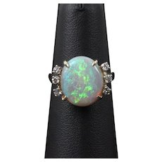 Vintage Opal Diamonds 14K Yellow Gold Ladies Ring